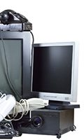 Old and used electric home waste. Obsolete pc computer, telephone, CRT
